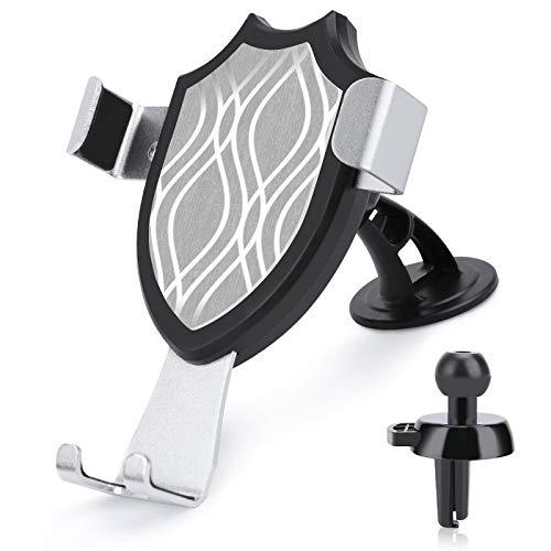 Soporte de ventilación para coche con manos libres, color gris y plateado, compatible con iPhone 12/12 Pro/11 Pro Max/8 Plus y más teléfonos móviles de 4 a 6 pulgadas