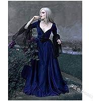 GBYAY Cosplay Princess Dress Adult V-Cuello Vestido de Noche para Mujer Lace Long Party Disfraz de Halloween