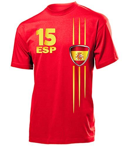 Spanien Espania Spain Fan t Shirt Artikel 3211 Fuss Ball EM 2020 WM 2022 Team Trikot Look Flagge Fahne Jersey World Cup Männer Herren Jungen L