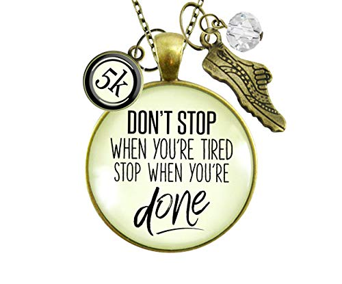 Gutsy Goodness 10K Marathon Necklace Don't Stop When You're Tired Motivational Run Sport Charm 24'