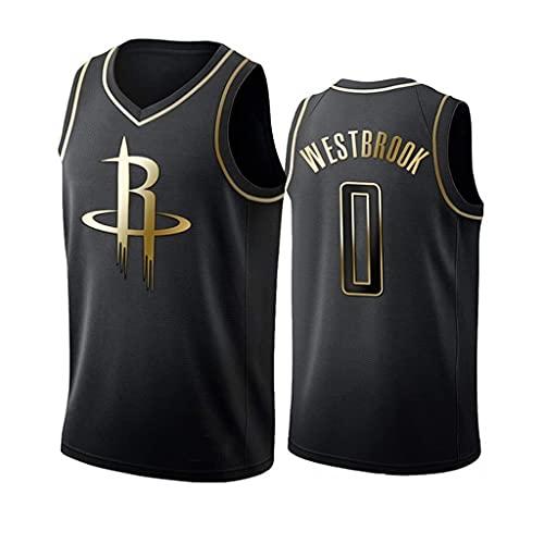 ZRHZB Rockets No. 0 Westbrook NBA Basketball Jersey (Black Gold Edition) Fans Jersey Swinger Mesh Jersey Chaleco Deportivo Camiseta Sin Mangas,S