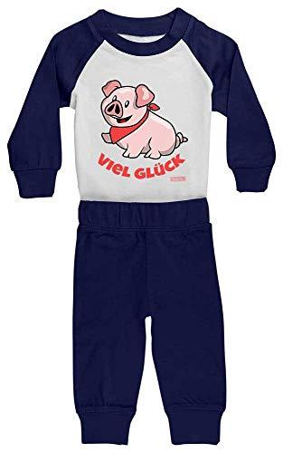 Hariz - Pijama de bebé, diseño de cerdito con texto en alemán'Viel Glück Tier' azul Blanco/azul...