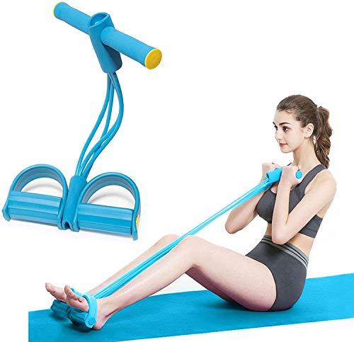 Ducomi Fascia di Resistenza - Corda Elastica Multifunzionale per Allenamento Addominali Gambe Glutei a Casa o in Palestra con Manubri, Fitness, Ginnastica, Yoga - Pull Rope Pedal (Blue)