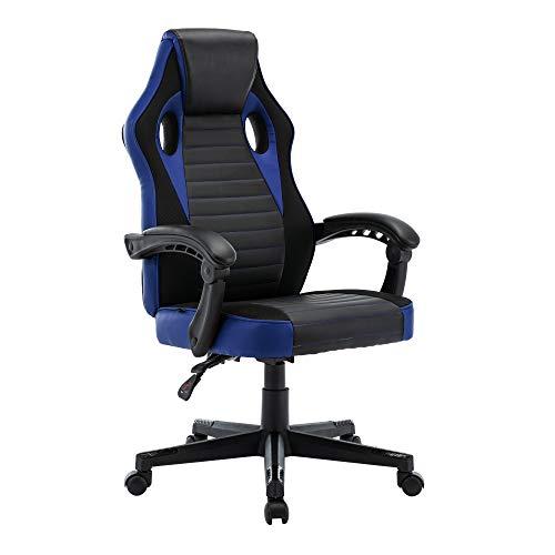 play haha. Chaise de bureau pivotante de style course pour ordinateur - Chaise de conférence ergonomique avec soutien lombaire - En cuir synthétique - Avec vérin à gaz - Testé SGS (Bleu)