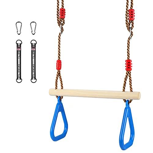Fascol Altalena a Trapezio, Trapeze Swing Bar 2 in 1 con Anelli Antiscivolo per Bambini Interno o Esterno, Attrezzature da Palestra Lunghezza Regolabile e Multifunzionale, Blu
