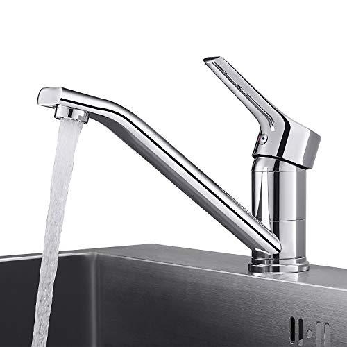 WOOHSE Wasserhahn Küche | Küchenarmatur mit 360° Drehbar Auslauf | Hochdruck Mischbatterie Küche | Einhebelmischer | Aus Messing Chrom