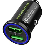 2019 Metal Car Charger by MONGOORA - Qualcomm Quick Charge 3.0 Dual USB 6A/36W Fast Car Charger Adapter - Two Ports QC 3.0 3A - Compatible with Any iPhone - Galaxy S10 S9 S8 S7 Note LG Nexus Pixel etc