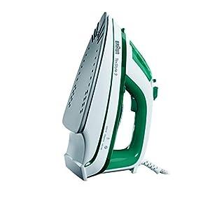 Braun TS345 – Plancha ropa vapor, 2000w, suela cerámica, 300ml capacidad agua, control vapor variable, blanco y verde