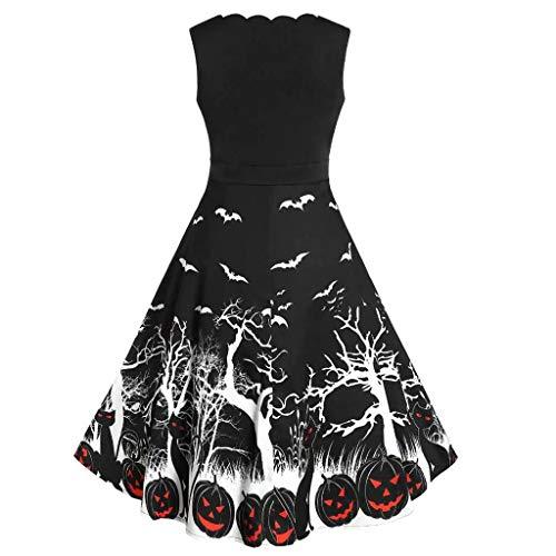 Benbzh Dames Halloween-jurk, mouwloos, met pompoenprint, rood, kant, ronde hals, modieus, casual, elegant, S, Blanco Y Gris