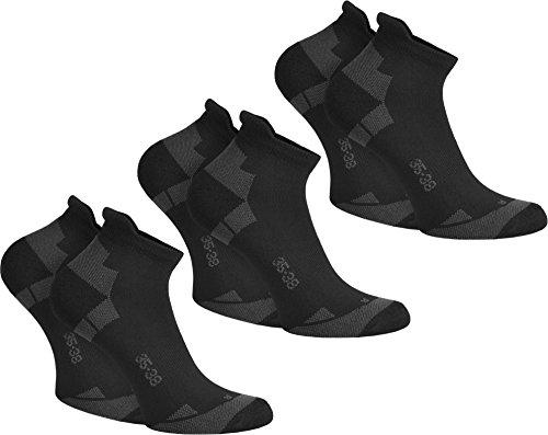 normani 6 Paar Coolmax Sport Sneaker Socken - Laufsocken mit klimaregulierender Faser in Schwarz oder Weiß Farbe Schwarz Größe 39/42