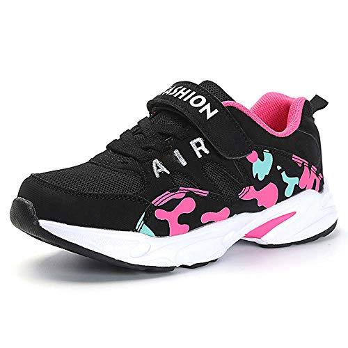 HSNA Scarpe da Ginnastica Bambina Scarpe da Correre Sneakers Leggere per Ragazze(Mesh Nero 31 EU)