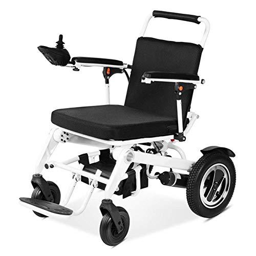 WXDP Silla de ruedas eléctrica plegable plegable autopropulsada con batería de iones de litio, silla de ruedas motorizada plegable portátil para discapacitados y ancianos, negro