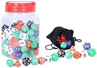 Polyhedral Dice Set - Assorted Colors - 4 Sided, 6 Sided, 8 Sided, 10 Sided, 12 Sided, and 20 Sided Included with Jar and Velvet Bag - 120 Count