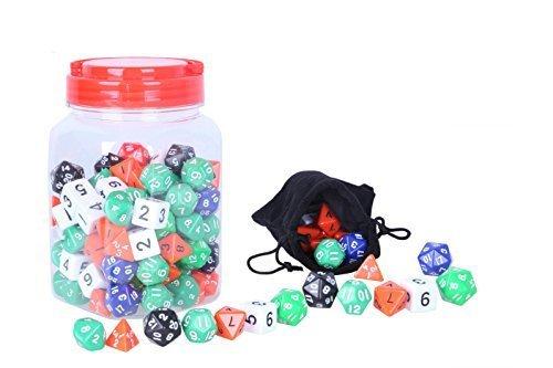 Juvale Variedad de Color al Azar Polidrica Dados - 4 Caras, 6 Caras, 8 Caras, Caras 10, 12 Caras, y 20 Bilateral incluida con Frasco y Bolsa de Terciopelo - 120 Conde Multi