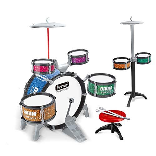 Yavso Juego de Batería para Niño, Simulación Batería de Jazz con Taburete Instrumentos Musicales Regalo para Niño Niña