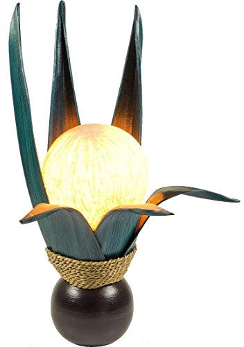 Guru-Shop Palmenblatt Lotus Tischlampe/Tischleuchte, in Bali Handgemacht aus Naturmaterial, Palmholz - Modell Palmera 8 Petrol, Palmblätter, 47x26x26 cm, Tischlampen aus Naturmaterialien