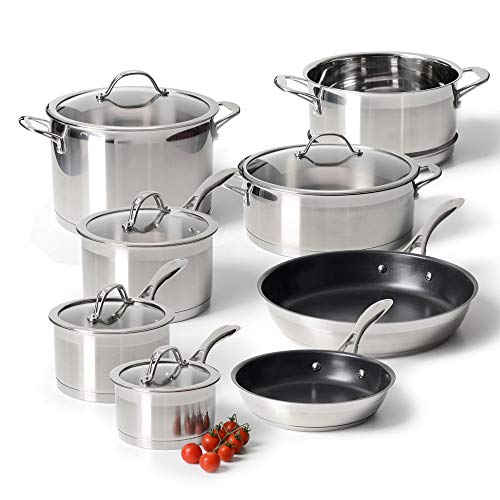 ProCook Professional Stainless Steel Cookware Set - 8 Piece - Induction Pans with Toughened Glass Lids and Heat-Resistant Handles