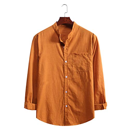 Camisa de Vestir de Manga Larga para Hombre Sólido Slim Fit Casual Business Work Blusas de Oficina Tops Camisa Formal con Botones con Bolsillo S