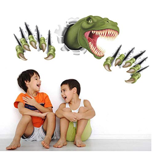 Cartoon Dinosaur Through Wall Stickers for Kids Room Bedroom Decor Animal 3D Effect brocken Wall Home Decal Poster Children Toy