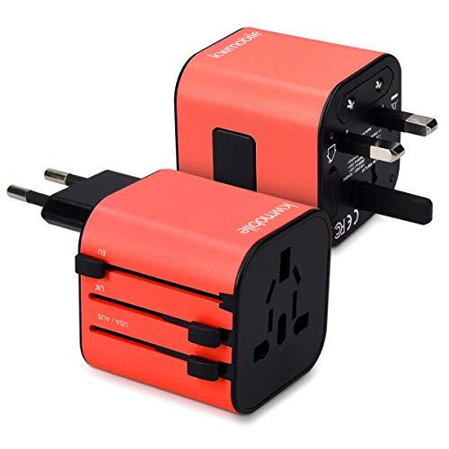kwmobile Universal Reiseadapter für 150 Länder - Stromadapter Stecker für Europa UK Australien USA - Universeller Weltreise Reisestecker - Rot