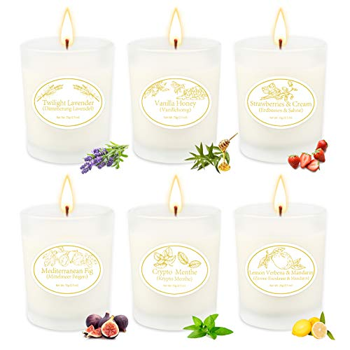 Aromatherapy Candles for Home Scented Rich and Burn Long Lasting, Scented Candle Sets for Women Gift, Essential Oil Soy Candle for Home Decor, Glass Jar 2.5 Oz x 6 Pack