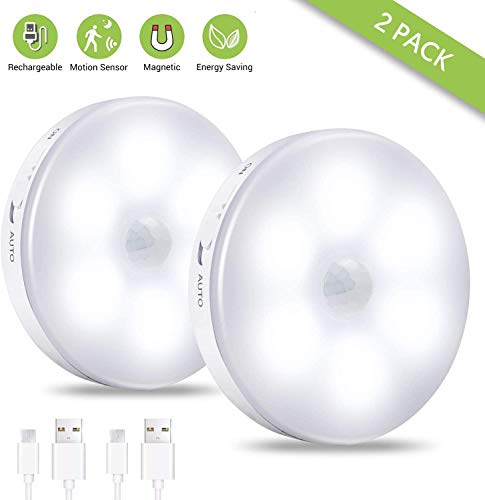 Luce con sensore di movimento, [2 Pezzi]luce notturna a LED ricaricabile con cavo USB, luce da parete senza fili con auto/on/off, per armadio, scale, corridoio, garage(bianco freddo)