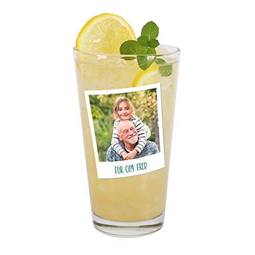 Herz & Heim® Trinkglas mit Foto Aufdruck im Polaroid Design mit Wunschtext