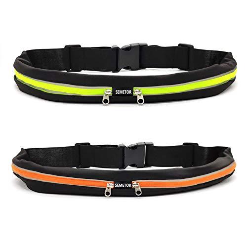 Laufgürtel - 2 Stücke Lauf Hüfttasche für Handy, Wasserabweisende Gürteltasche Bauchtasche mit Doppeltaschen für Training im Fitnessstudio, Sport, Radfahren, Laufen, Reisen und Outdoor-Aktivitäten