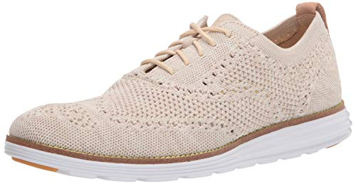 Cole Haan Women's OriginalGrand Stitchlite Wingtip Oxford, Cement Twisted Knit/Optic White