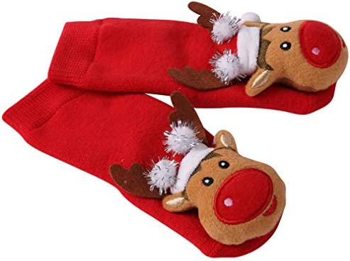 Baby Christmas Socks HAPYCEO Non slip 3D Infant Toddler Adorable Reindeer First Christmas Holiday product image
