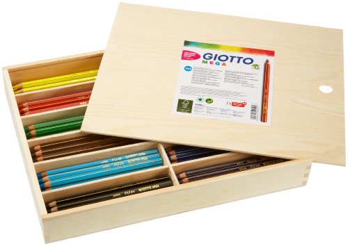 Giotto 5205 00 - boîte en bois avec couvercle Mega 144 crayons de noyau épais (12 x 12)