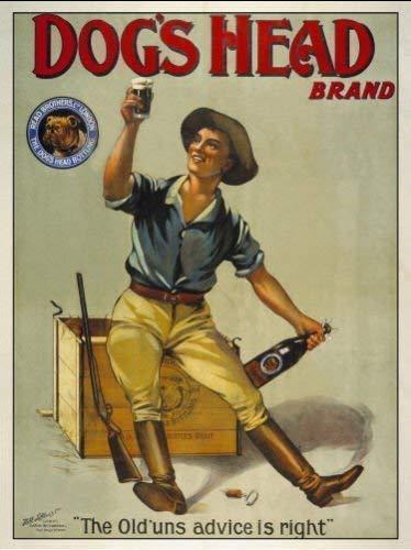 Dog's Cabeza Brand cerveza. Antigua retro vintage anuncio para casa, casa, bar /pub. Niño sat on cloudsurfer a crear,sexy day en el sol,caza,pieza de caza,pistola,ozzy,austrailian posible. Metal/ - acero, 15 x 20 cm