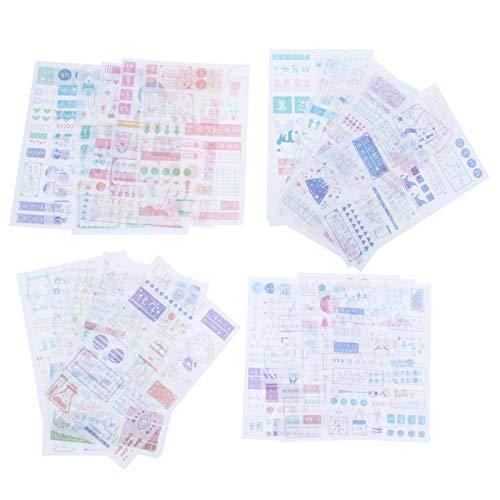 Pegatinas adhesivas impermeables de 24 piezas para maletas, marcos de fotos, calendarios de papelería, decoración de cuentas de mano DIY