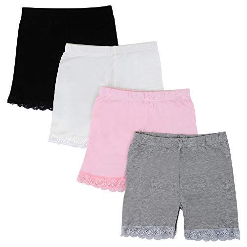 Kidear 3-12 Años Niñas Color Sólido de Encaje de Las de Moda Corto Falda Pantalones de Seguridad Ropa Interior Pantalones Cortos (Paquete de 4) (Estilo1, 4-6 años)