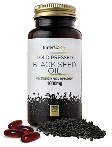 Black Seed Oil Double Strength Capsules - Premium Cold Pressed Virgin Oil, High Strength Thymoquenine 3X% | 60 x 1000mg Softgels with Zero Additives (Non-GMO) Made in UK by Inner Vitality