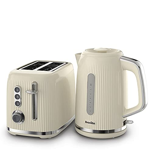 Breville Bold Cream Kettle and Toaster Set   with 1.7 Litre, 3KW Fast-Boil Electric Kettle and 2-Slice High-Lift Toaster   Cream and Silver Chrome [VKT223 and VTR003]