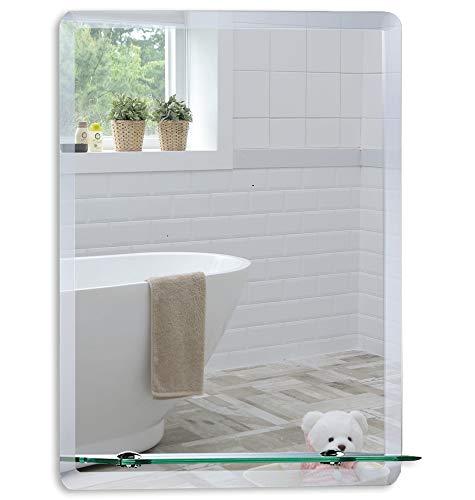 Neue Design Badezimmer-Wandspiegel, modernes, stilvolles Design mit Ablage und abgeschrägter Ebene, 3 Größen: 70 cm x 50 cm, 60 cm x 45 cm, 50 cm x 40 cm, EM1002, glas, silber, 60cm X 45cm