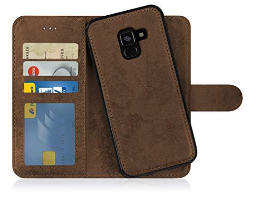 MyGadget Flip Hülle Handyhülle für Samsung Galaxy A8 2018 - Magnetische Hülle aus Kunstleder Klapphülle - Kartenfach Schutzhülle Wallet - Braun