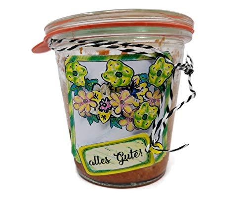 """Geburtstagskuchen """"Apfel & Karamell"""" (1001) mit Apfelstücken und feinem Sahne-Karamell im Glas gebacken mit 145 Gramm Inhalt"""