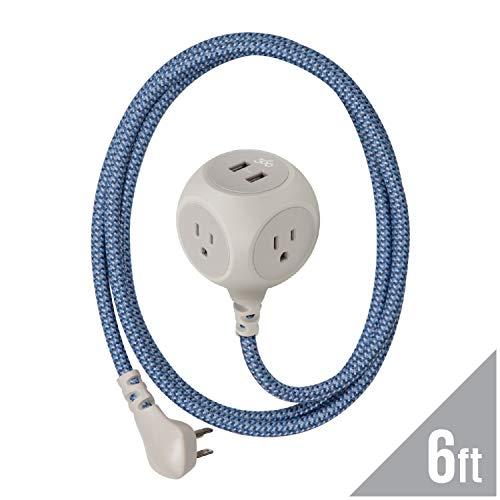 360 Electrical 360461 Habitat Braided Extension Cord w/ 2.4A Dual USB, 6 ft, Harmony-Summer Twilight