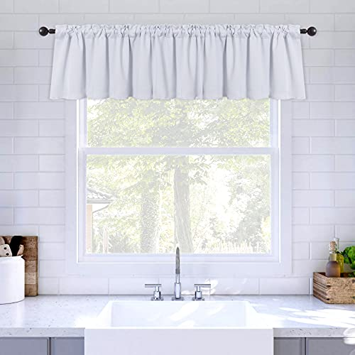 MIULEE Blackout Valance Rod Pocket Thermal Insulated Window Treatment Tiers Solid Short Curtain for Small Window Bedroom 42 x 18 Inches 1 Panel Greyish White
