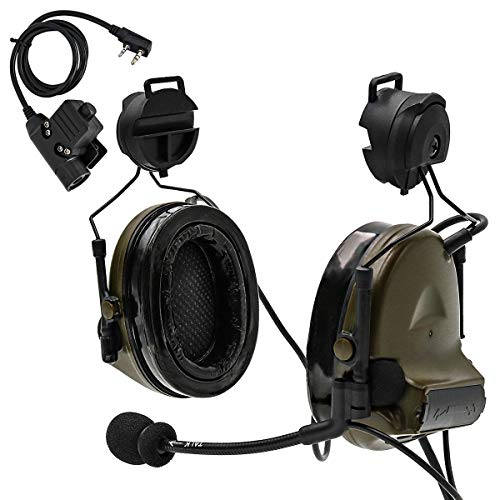 TAC-SKY Tactical Headset Comta II Helmet Version Noise Reduction Sound Pick Up for Airsoft Activities (Army Green)