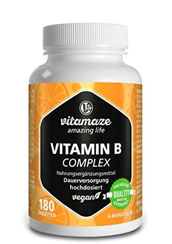Vitamin B Komplex hochdosiert & vegan, 180 Tabletten für 6 Monate, B1, B2, B3, B5, B6, B7, B9, B12 Vitamine in einer Tablette, Natürliche Nahrungsergänzung ohne Zusatzstoffe