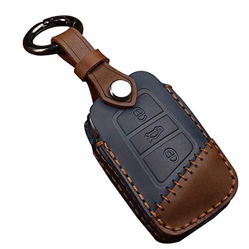 XITER Keyless Entry Remote Cover Leather Key Fob Case+Key Chain Ring For VW Passat Tiguan Atlas Golf Alltrack Jetta Skoda Superb A7 Skoda Skoda Kodiaq (BLUE)