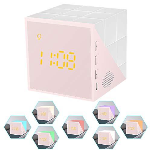 OVAERO Digital Clock Wecker, Wecker Elektronischer Kleiner Kreative, Cube Mini-Wecker Mit Timing Led Nachtlicht USB Für Studenten, Kind, Schlafzimmer (Rosa)