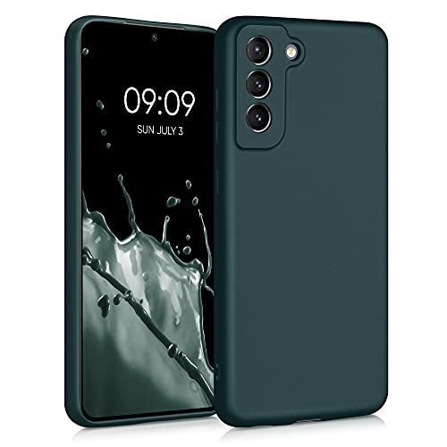 kwmobile Custodia Compatibile con Samsung Galaxy S21 Fe - Cover Silicone TPU Effetto Metallizzato - Protezione Back Case Morbida Petrolio Metallizzato