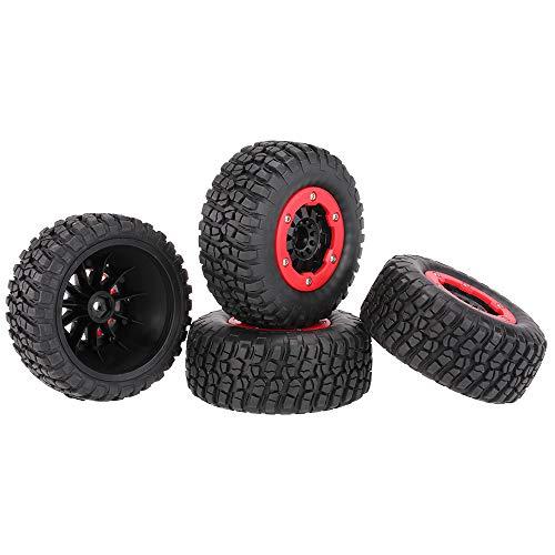 Globact 4Pcs RC Wheel Set RC tires for High Performance Traxxas slash 4x4 Short Course Truck Tires for 1:10 RC Short-Course Truck VKAR10SC HPI (AX-3007) Traxxas Slash 4x4 Axial SCX10 Rc4wd Wheel Tires
