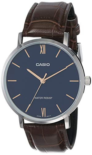 Casio MTP-VT01L-2B Men's Minimalistic Blue Dial Brown Leather Band Analog Watch