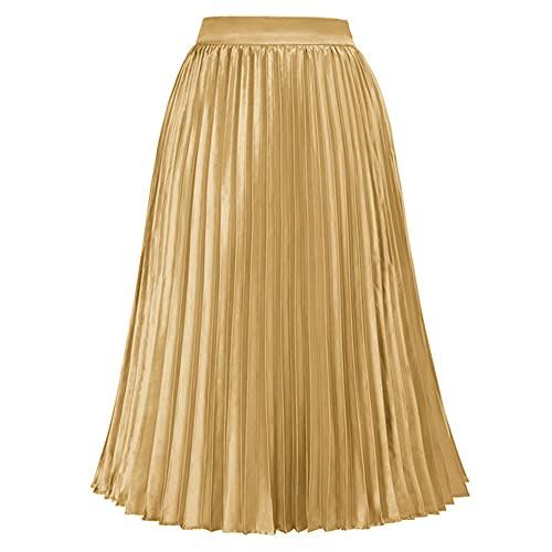 N\P Falda plisada de mujer de cintura alta cintura elástica satén faldas