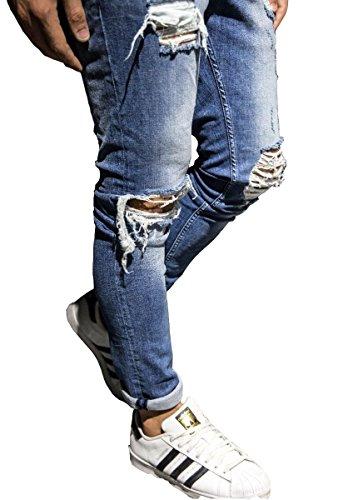 Men's Vintage Slim Fit Just Ripped Destroyed Jeans Blue 38